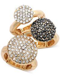 INC International Concepts - Metallic Goldtone Black and Clear Crystal Stretch Ring Trio - Lyst