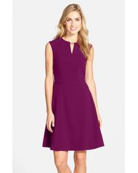 Tahari - Purple Embellished Bi-Stretch Dress - Lyst
