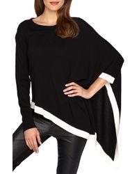 Catherine Malandrino - Black 'harper' Two-tone Asymmetrical Poncho Sweater - Lyst