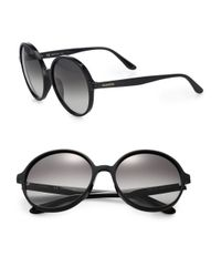 Valentino | Black Thin Glam 59mm Large Round Sunglasses | Lyst