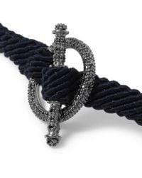 Yuvi - Blue Black Diamond Silver and Woven Cord Bracelet for Men - Lyst