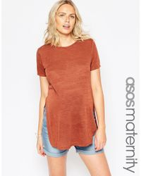 ASOS - Brown Tunic With Side Splits With Short Sleeves - Lyst