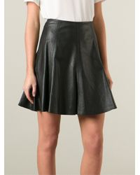 MICHAEL Michael Kors - Black Leather Flared Skirt - Lyst