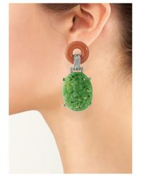 Kenneth Jay Lane | Green Coral And Jade Art Deco Clip Earring | Lyst
