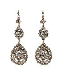 Alberta Ferretti - Metallic Embellished Chandelier Earrings - Blue - Lyst