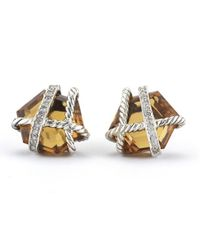 David Yurman - Orange Pre-owned Sterling Silver Faceted Citrine Cable Wrap Earrings with Pave Diamonds - Lyst