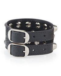 Balenciaga - Black Giant 12 Triple-row Leather Bracelet - Lyst