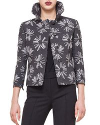 Akris Punto - Gray Abstract Floral Boxy Hidden Button Jacket - Lyst
