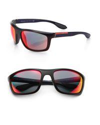 Prada | Red Irregular Wrap Sunglasses for Men | Lyst