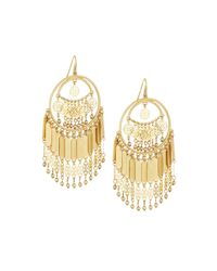 Lydell NYC | Metallic Golden Southwestern Fringe Hoop Earrings | Lyst