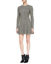 Nicole Miller Artelier | Black Long-sleeve Printed Fit & Flare Dress | Lyst