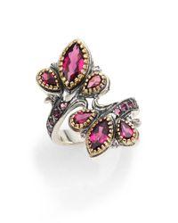 Konstantino - Pink Artemis Rhodolite 18k Yellow Gold  Sterling Silver Floral Flourish Ring - Lyst