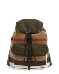 Burberry | Brown 'korbin' Check Print Canvas Backpack for Men | Lyst