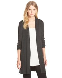 Eileen Fisher | Gray Long Straight Cut Cardigan | Lyst