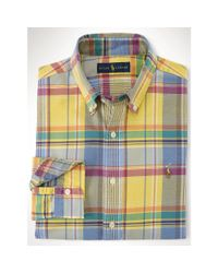 Polo Ralph Lauren | Yellow Plaid Cotton Oxford Shirt for Men | Lyst