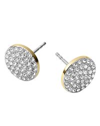 Michael Kors | Metallic Golden/Silver Pave Disc Earrings | Lyst