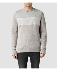 AllSaints | Gray Bracton Crew Jumper for Men | Lyst