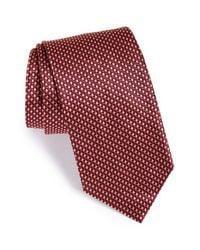 Brioni - Red Geometric Print Silk Tie for Men - Lyst