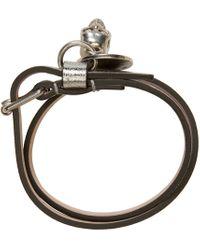 Alexander McQueen | Metallic Silver Double Wrap Bracelet | Lyst