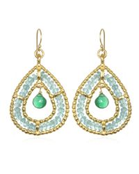 Wendy Mink | Double Teardrop Earrings, Apatite & Green Onyx | Lyst