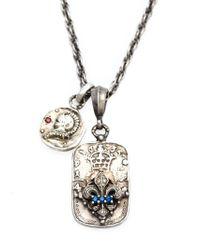 Roman Paul | Metallic Fleur De Lis Emblem Diamond, Sapphire And Ruby Necklace for Men | Lyst