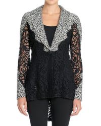 NIC+ZOE - Black Textural Lace-paneled Hi-lo Cardigan - Lyst