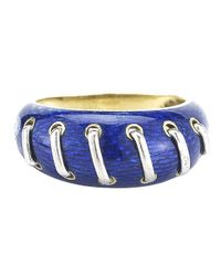 Gucci | Pre-owned: 18ky And Blue Enamel Ring | Lyst