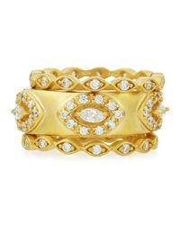 Freida Rothman | Metallic Marquis Cz Set Of Three Stackable Rings | Lyst