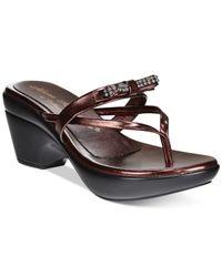 Callisto - Purple Lassye Platform Wedge Thong Sandals - Lyst