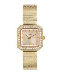 Timex - Metallic 'starlight' Crystal Bezel Square Mesh Strap Watch - Lyst