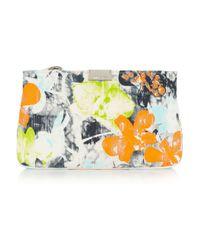 Jimmy Choo - Orange Zulu Floral-print Canvas Clutch - Lyst