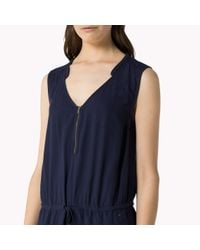 Tommy Hilfiger | Blue Cotton Viscose Zip Front Jumpsuit | Lyst