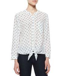 Joie - White Edaline B Anchor-Print Silk Blouse - Lyst