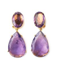 Bounkit | Metallic Amethyst Drop Earrings | Lyst