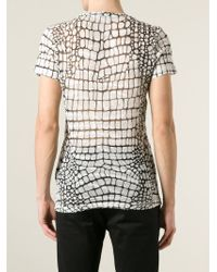 Roberto Cavalli - White Crocodile-Print Sheer T-Shirt for Men - Lyst