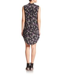 Equipment - Black Signature Silk Floral-print Dress - Lyst