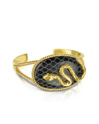 Just Cavalli | Black Amazonia Gold Plated Bangle Bracelet | Lyst