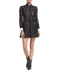 Valentino - Black Long-sleeve Shirt-cuff Lace Dress - Lyst