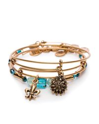 ALEX AND ANI - Metallic Strength In Full Bloom Set Of 3 Expandable Wire Bangles, Charity By Design Collection - Lyst