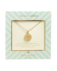 kate spade new york | Metallic One In A Million Initial Pendant Necklace - W | Lyst