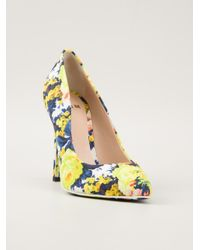 353614d86638 Lyst - MSGM Floral-Print Canvas Pumps in Yellow