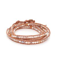 Chan Luu - Natural 4mm Grey Potato Pearl, Opal, Crystal & Leather Multi-row Beaded Wrap Bracelet - Lyst