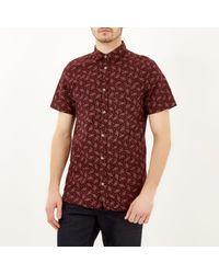 River Island - Purple Burgundy Japanese Floral Print Shirt for Men - Lyst