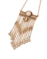Forever 21 | Metallic Faux Stone Fringed Necklace | Lyst