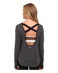 Alo Yoga | Gray Lotus Fleece Long Sleeve Top | Lyst