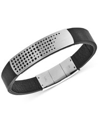 Emporio Armani | Metallic Stainless Steel Black Leather Bracelet Egs2004040 for Men | Lyst