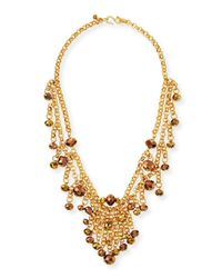 Kenneth Jay Lane | Metallic Beaded Golden Chain Necklace | Lyst