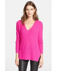 Autumn Cashmere | Pink Shaker Stitch Cashmere V-neck Sweater | Lyst