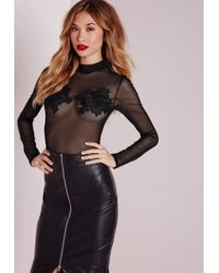 Missguided - Long Sleeved Mesh Bodysuit With Applique Detail Black - Lyst