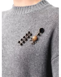 Marni - Black Crystalembellished Double Brooch - Lyst